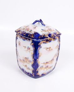 Oriental Flow Blue Biscuit Jar Cookie Jar by LeVintageGalleria