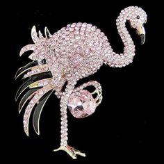 Flamingo Bird Brooch Pin Pink Rhinestone Crystal Enamel Animal