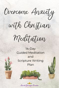 Christian meditation on key verses can help you overcome anxiety. Check out my 14-day guided meditation and Scripture writing plan to help you find peace in God's Word. Christian Faith, Christian Living, Christian Women, Overcoming Anxiety, Overcoming Adversity, Christian Meditation, Writing Plan, Meditation For Beginners, Anxiety Tips