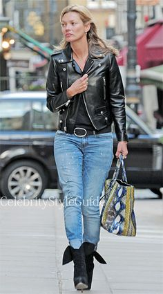 Seen on Celebrity Style Guide: Kate Moss wore the Saint Laurent Cropped Zip-up Leather Jacket shopping in London April 16 2013