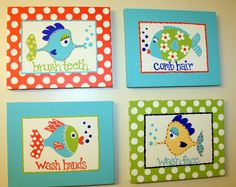 Pottery Barn Kids FUNNY FISH Inspired Set of 4 Bathroom Set. $155.00, via Etsy.