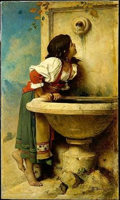 "Thanks to Alana Coons for this - 1875 oil painting by Leon Bonnat, ""Roman Girl at a Fountain"", New York's Metropolitan Museum of Art - likely inspired the 1924 signed Mexican tile on the Sunset Blvd Spanish Revival home."