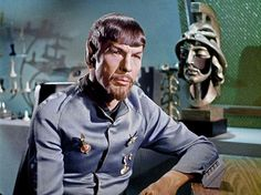 Spock of the Mirror Universe.    The Rule of the Goatee meme started here.  Evil versions have facial hair.