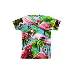 Flamingo Shirt ($40) ❤ liked on Polyvore featuring tops, shirts, tees, sexy tops, shirts & tops and sexy shirts