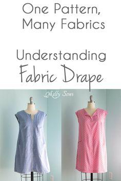 Sewing Fabric Types How Fabric Drape Affects a Sewing Pattern - Melly Sews - Understanding fabric drape and how it can change the appearance of a garment Sewing Hacks, Sewing Tutorials, Sewing Crafts, Sewing Projects, Sewing Patterns, Sewing Tips, Sewing Ideas, Clothes Patterns, Shirts & Tops