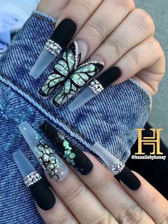 Almond Acrylic Nails, Best Acrylic Nails, Gorgeous Nails, Pretty Nails, Butterfly Nail Designs, Fire Nails, Clear Nails, Coffin Nails Long, Rhinestone Nails