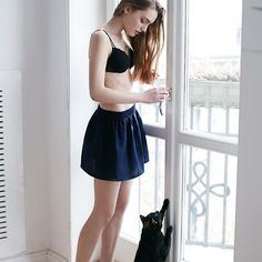 Playing with Kitka in our len mini skirt  shop at theodderside.com  #theodderside #morning #home #fashion #polish #lessismore #pretty #simply #girl #cat #kitty #sweet #love #interior