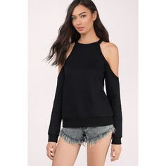 Tobi Georgia Cold Shoulder Fleece Sweater ($29) ❤ liked on Polyvore featuring tops, sweaters, black, cold shoulder tops, spaghetti-strap tops, fleece sweater, cut-out shoulder sweaters and cut-out shoulder tops