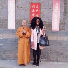 Peace & Love. @ngozithestylist // Qingdao China. #travelnoire #qingdao Who do you want next to you as you explore China?