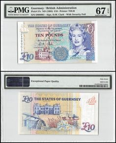 Paper Money: Guernsey 10 Pounds, Nd 1995, P-57C, Unc, Queen Elizabeth Ii (Qeii), Pmg 67 Epq BUY IT NOW ONLY: $99.99