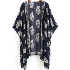 Navy Vintage Floral Loose Kimono (34 BRL) ❤ liked on Polyvore featuring jackets, cardigans, kimonos, outerwear, tops and black