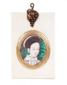 """Miniatura china de época Qing, hacia 1900.""""Emperatriz Cixi""""."""
