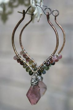 wire wrapped earrings, love the shape and colors - Something Sublime