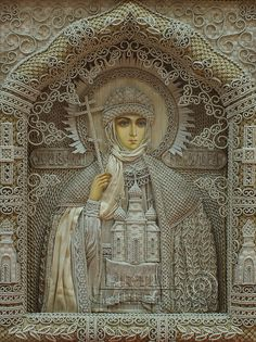 Vladimir Denshchikov is an artist from Ukraine. He creates these religious icons using linen threads. Millions of knots are made manually by. I'm not a fan of religious art, but this is truly amazing. Religious Icons, Religious Art, Textile Design, Textile Art, Immaculée Conception, Sculpture Textile, Art Du Monde, Russian Icons, Ukrainian Art