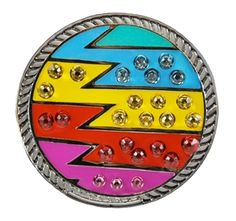 Loudmouth Golf Captain ThunderBolt Ball Marker with Swarovski Crystals on Kicks Candy. Bright and bold ball markers for your shoes! Match your Loudmouth golf apparel with your accessories. Mark your spot in a storm of style!