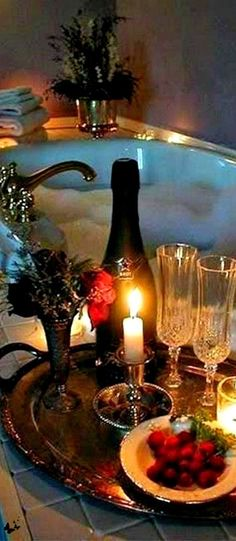 Bubble Bath by Candlelight, Champagne, Munchies - Yes Please! Best Bath, Dream Bathrooms, Bath Time, Be My Valentine, Bubbles, Things To Come, Dating, Romance, In This Moment