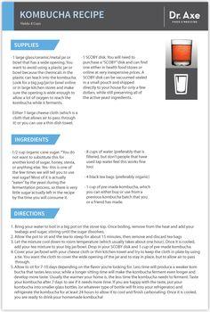 Kombucha Recipe Card ~ http://draxe.com/7-reasons-drink-kombucha-everyday