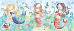 Three Mermaids (2011) Watercolours by Julia Rigby | Artfinder