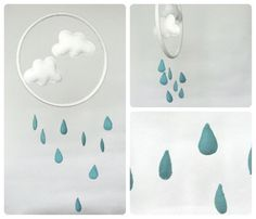 Rain Cloud mobile - turquoise blue and white - nursery decor- raindrops mobile-modern baby mobile-nursery hoop art by Rainbowsmileshop on Etsy https://www.etsy.com/listing/195792337/rain-cloud-mobile-turquoise-blue-and