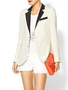 White on White on Black & White + Pop of Color = Perfection. Haute Hippie The Perfect Blazer | Piperlime