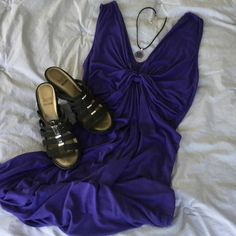 "Just InForever 21 Purple ""Twist"" Tank Dress This Tank style Dress has nice Knotted Twist detail at the Sexy, Plunging ""V"" neckline. Loose & Flowing Skirt offers cool comfort for hot summer days. Add a light sweater or jacket for cooler evenings for day to night versatility. Note: light stain on skirt front. Not too noticeable but listed here for disclosure. Price reflects this. Forever 21 Dresses"