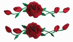 "Amazon.com: [2 Count Set] Custom and Unique (1 1/8"" by 4 3/4"" Inches) Blooming Roses on Vine Iron On Embroidered Applique Patch {Red and Green Colors}"