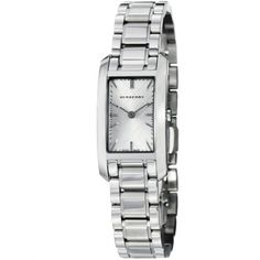 Women's Wrist Watches - Burberry Check Engraved Rectangle Ladiessmall Silver Dial Stainless Steel Watch BU9500 -- You can find out more details at the link of the image. (This is an Amazon affiliate link)
