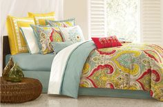 Red And Turquoise Bedding | Echo Gramercy Paisley Comforter Mini Set. Maybe...