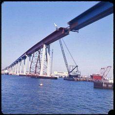 Coronado Bridge under construction. I was able to watch a Big part of this happen from NAB, Coronado.   :)