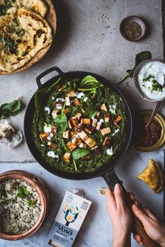 Palak Paneer kaurapalalla (V) – Viimeistä murua myöten Saag, Garam Masala, Meatless Monday, Vegan Recipes, Vegan Food, Food Food, Kung Pao Chicken, Palak Paneer, Chutney