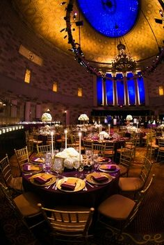 Gotham Hall Purple %26 Gold Wedding    Photography: Images by Berit, Inc.   Read More:  http://www.insideweddings.com/weddings/gatsby-inspired-jewish-wedding-with-purple-gold-decor-in-new-york/720/