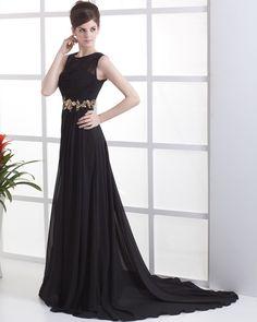 Sarah Gadon Pleated Chiffon Yarn Round Neck Floor Length Celebrity Dresses