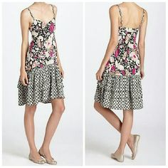 Anthropologie Floral Ruffled Tiered Dress