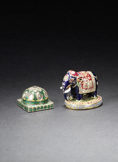 Two gem-set and enamel Gaming Pieces Rajesthan and Jaipur, 19th Century(2)