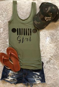 All of us love our Jeeps and we love our Jeep Gear. This is a great looking tank top it goes well with our Jeep Girl Camo ball cap. This tank is made Jeep Jk, Auto Jeep, Jeep Gear, Jeep Rubicon, Accessoires De Jeep Wrangler, Jeep Wrangler Accessories, Jeep Accessories, Clothing Accessories, Jeep Clothing