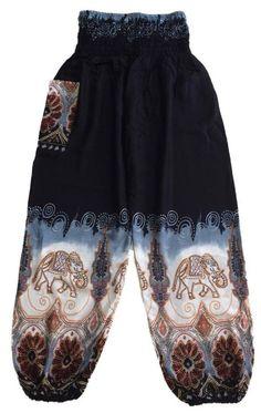 Black Batik Style Elephant Pants