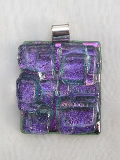 Purple dichroic fused glass Mosaic Pendant by FoxWorksStudio