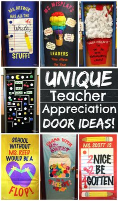 A collection of unique and clever teacher appreciation door ideas that are easy and fun to make. These will be a hit at your school!