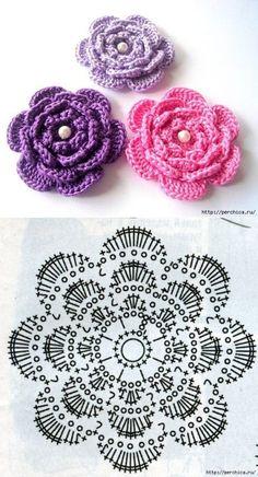Crochet Motifs, Crochet Flower Patterns, Crochet Poncho, Crochet Designs, Baby Patterns, Easy Crochet, Crochet Flowers, Crochet Baby, Free Crochet