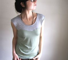 Oscillate Shirt - Seafoam and Pale Grey Thimble + Acorn (I'm a sucker for the sweetheart cut)
