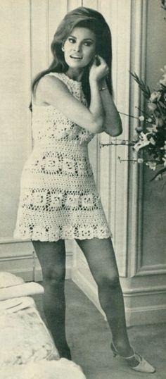 Bouffant hairdo, white lace minidress (early sixties)