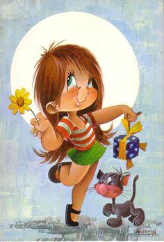 POSTAL CON DIBUJO DE NIÑOS Vintage Cards, Vintage Postcards, Cartoon Drawings, Cute Drawings, Cute Images, Cute Pictures, Vintage Illustration, New Year Art, Funny Phone Wallpaper