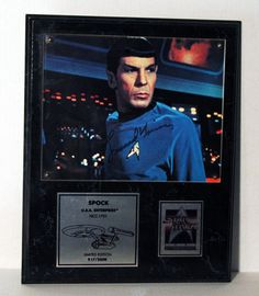 Limited Edition Star Trek Legend Leonard Nimoy Autograph Spock Hand Signed Star Trek 25th Anniversary Photo Plaque SN