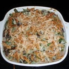 "Absolutely Delicious Green Bean Casserole from Scratch | ""No cans here! Fresh mushrooms, onion, and herbs with frozen green beans, sour cream, and cheddar cheese make this a delightfully tasty twist on the traditional casserole."""