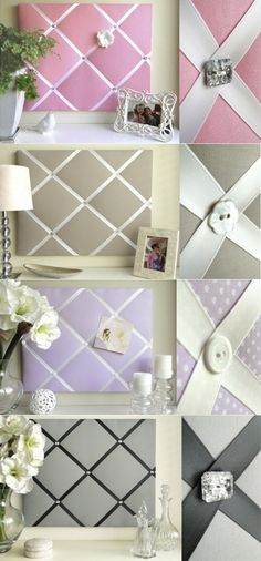 DIY Bulletin Board. Things needed: Fabric, Plain Cork Board (Size of your choice), Ribbon, Buttons/Bows (Or any…