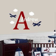 Airplane Wall Decal  Custom Name Decal  by iSignsDecalStudio