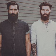 Luke Ditella & Levi Stocke - thick black beard and mustache dark red beard beards bearded man men mens' style fashion tattoos tattooed handsome bearding #beardsunited