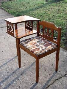 Vintage Wood Gossip Bench/Telephone Chair