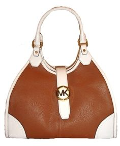 Michael Kors Hudson Large Two-Tone Leather Shoulder Tote, Luggage / Optic White List Price: $378.00 Our Price: $260.00 Savings: $118.00