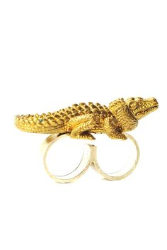 "Crocodile double ring by Elena Estaun from the SS15 collection : ""Créatures du ciel et de l'enfer""  #Trends #SS15 #Jewellery #Jewels #Gold #double #ring #crocodile #style"